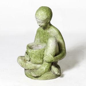 White Moss Fiberstone Boy with Bowl Figurine