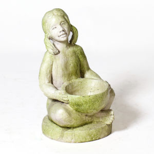 White Moss Fiberstone Girl with Bowl Figurine