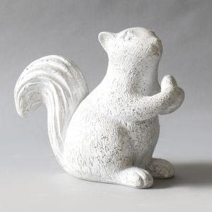 Cathedral White Fiberstone Nutty Squirrel Figurine