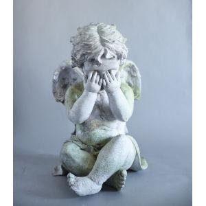 White Moss Fiberstone Peekaboo Cherub Figurine