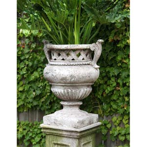 Weave Top Urn 21-Inch Fiberglass - Cathedral White Finish