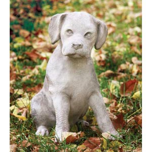Lab Puppy 13.5-Inch Fiberglass Statue - Cathedral White Finish