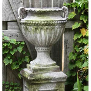Fluted And Beaded 18-Inch Fiberglass Urn - White Moss Finish