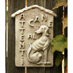 Beware of Dog Plaque Fiberglass - Cathedral White Finish