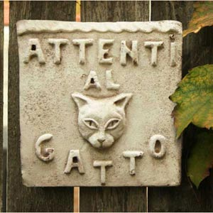 Beware of Cat Plaque Fiberglass - Cathedral White Finish