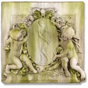 Labelle Demoiselle Cherub Fiberglass Plaque - White Moss Finish