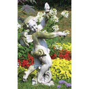 Rococo Angel Torch Fiberglass Statue - White Moss Finish