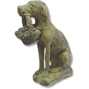 Verde Dog with Flower Basket Statue