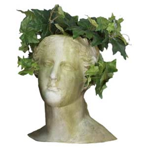 White Moss Venus Head Outdoor Planter