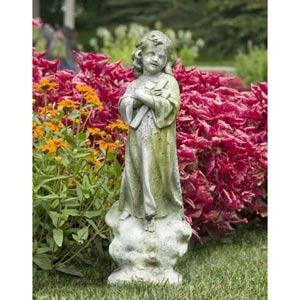 Christ Child with Cross Fiberglass Statue - White Moss Finish