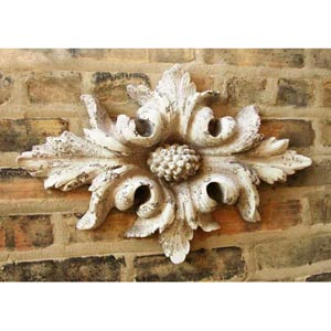 Berries in Flower Leaves 13-Inch Fiberglass Statue - Cathedral White Finish