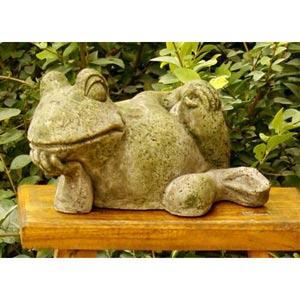 Gossip Frog 6.5-Inch Fiberglass Statue - White Moss Finish