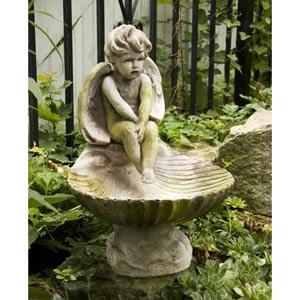 Meditating 17-Inch Fiberglass Birdbath - White Moss Finish