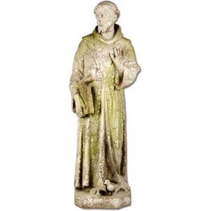 St. Francis Fiberglass Statue - White Moss Finish