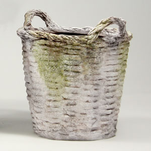 White Moss Round Basket Small