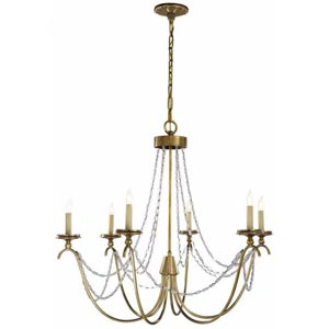 Antique Brass Marigot Six-Light Chandelier