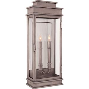 Antique Nickel Tall Linear Lantern