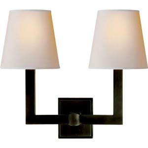 Bronze Two-Light Square Tube Wall Fixture