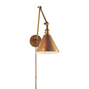 Boston Antique Brass Plug In Wall Mounted Adjustable Library Lamp