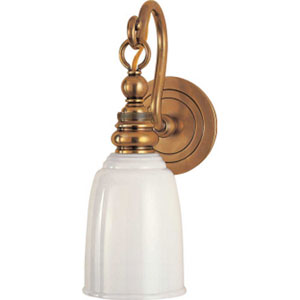 Boston Loop Antique Brass Arm Wall Sconce