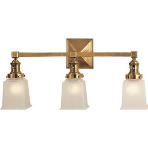 Antique Brass Boston Square Three-Light Fixture