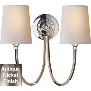 Reed Double Sconce in Antique Nickel with Natural Paper Shades