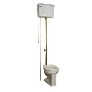 Victoria High Tank Round Toilet - White/Brass