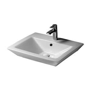 Opulence White Pedestal Sink Rectangular Bowl 1-Hole