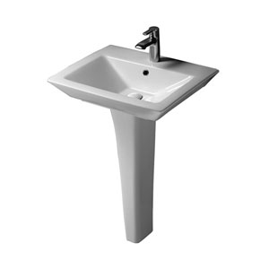 Opulence White Pedestal Sink Rectangular Bowl 8-Inch Widespread