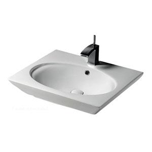 Opulence White Pedestal Sink Oval Bowl 1-Hole