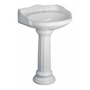 Victoria White Pedestal Sink 4-Inch Centerset