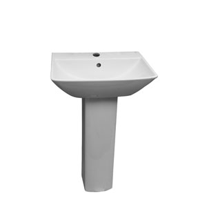 Summit White 600 Pedestal Sink 1-Hole