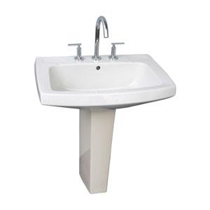 Galaxy White 28-Inch Pedestal Sink 8-Inch Widespread
