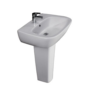 Elena 18-Inch White 600 Pedestal Lavatory with One Faucet Hole