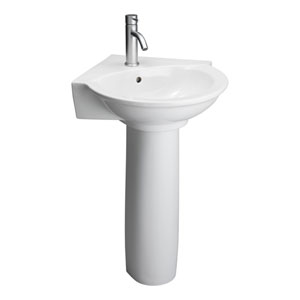 Evolution White Corner Pedestal Sink