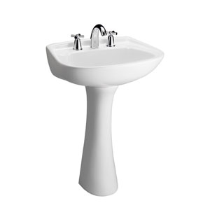 Hartford 4-Inch Centerset White Pedestal Sink