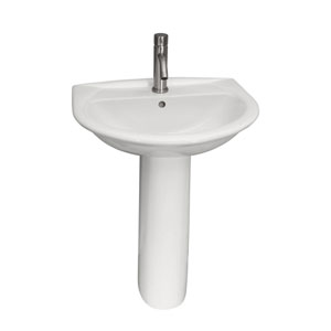 Karla 18-Inch White 550 Pedestal Lavatory with One Faucet Hole