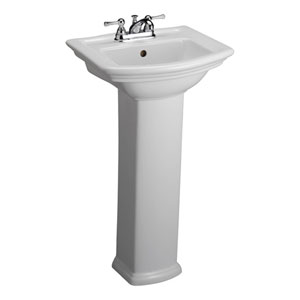 Washington White 4-Inch Spread Pedestal Sink