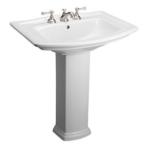 Washington 8-Inch Spread White Pedestal Sink