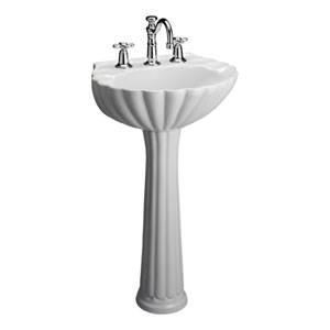 Bali White 8-Inch Spread Pedestal Sink