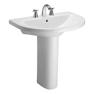 Jumeirah White 8-Inch Spread Pedestal Sink