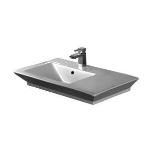 Opulence White 33-1/2-Inch Above Counter Basin 1-Hole Rectangular Bowl