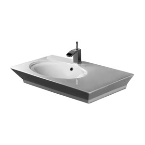 Opulence White 33-1/2-Inch Above Counter Basin 1-Hole Oval Bowl
