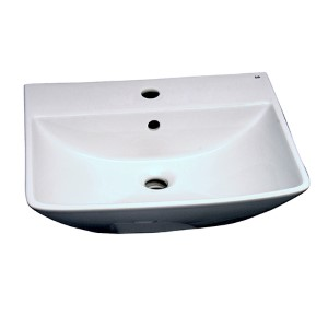 Summit 18.5 x 10.5-Inch White 500 Wall-Hung Basin with One Faucet Hole