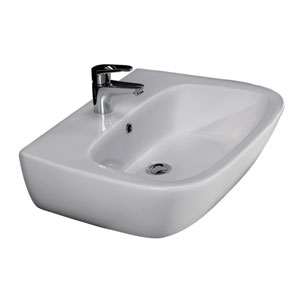 Elena White 450 Wall-Hung Basin with One Faucet Hole