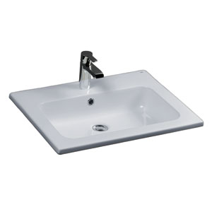 Cilla White Drop-In Basin One Faucet Hole