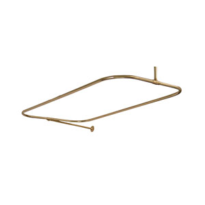 Polished Brass Rectangular Shower Rod with Side Support 54 x 24-Inch