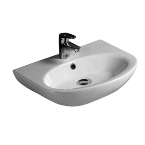 Infinity White 500 Wall-Hung Basin with One Faucet Hole