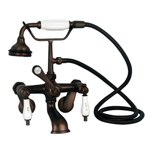 Oil Rubbed Bronze Wall Mounted Adjustable Tub Faucet with Lever Handles