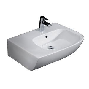 Elena White 25-Inch Above Counter Basin with Deck on Left